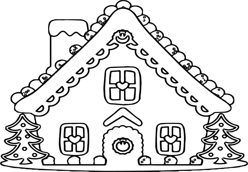 Gingerbread House Coloring Pages Large Gingerbread House Coloring Page Wecoloringpage