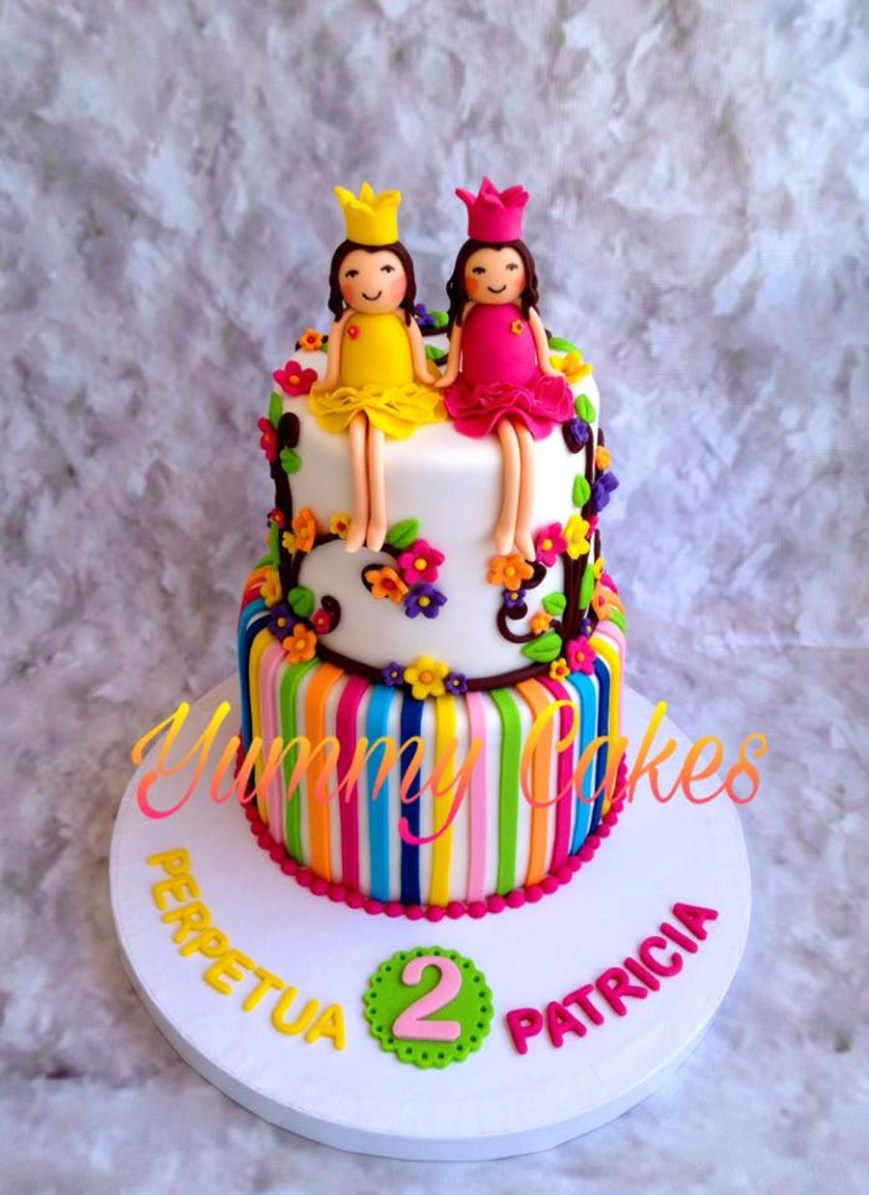 Girl Birthday Cake Ideas Twin Girls Birthday Cake Cakecentral