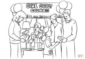 Girl Scout Coloring Pages Girl Scout Coloring Pages Brownie Girl Scouts Selling Cookies