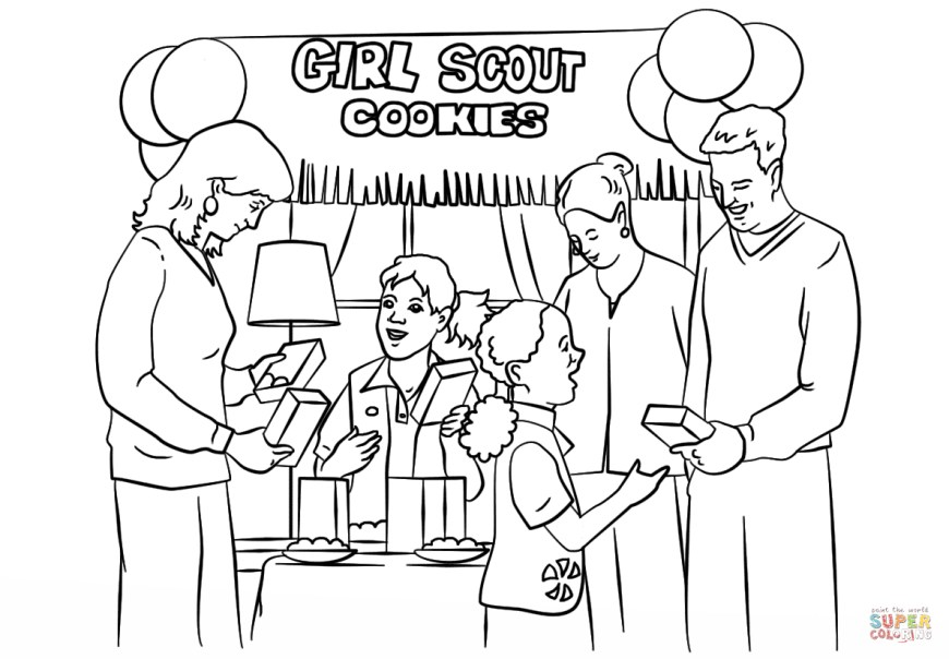 Girl Scout Coloring Pages Girl Scout Coloring Pages Brownie Girl Scouts Selling Cookies