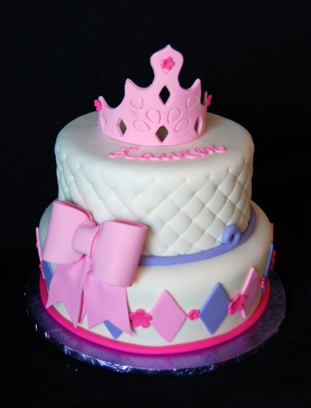 Girls Birthday Cakes Princess Themed Girls Birthday Cake In Pink And Purple Fondant With