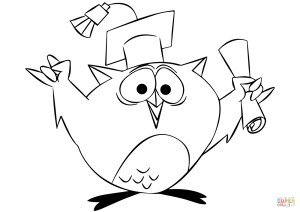 Graduation Coloring Pages Cartoon Owl Graduating Coloring Page Free Printable Coloring Pages