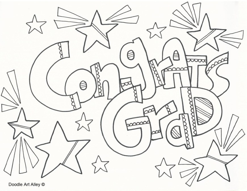 Graduation Coloring Pages Graduation Coloring Pages Doodle Art Alley