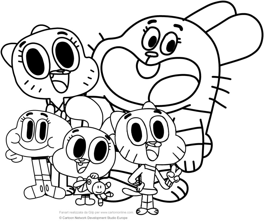 Gumball Coloring Pages Watterson Family The Amazing World Of Gumball Coloring Pages