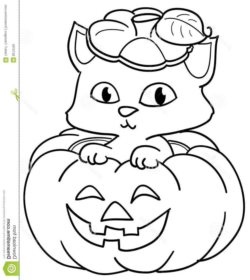 Halloween Cat Coloring Pages Halloween Cat Coloring Pages 7sl6 Pumpkin And Cute Cat Coloring