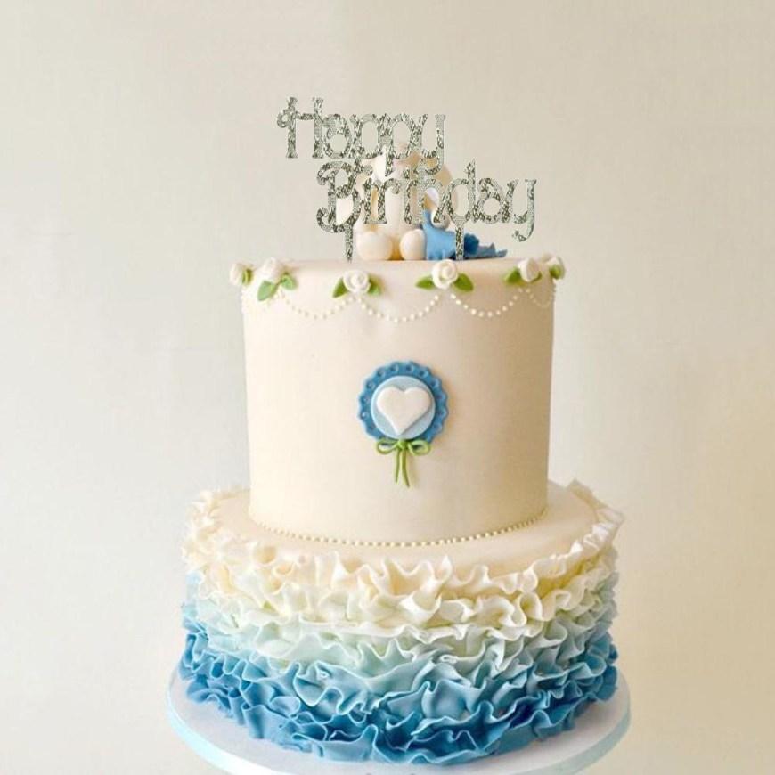 Happy Birthday Cake Banner 1pcs Birthday Cake Placard Diy Romantic Couple Birthday Cake Flag