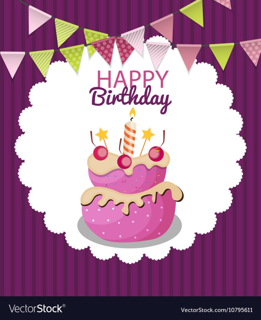 Happy Birthday Cake Banner Color Glossy Happy Birthday Flags And Cake Banner Vector Image
