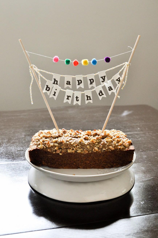 Happy Birthday Cake Banner Diy Birthday Cake Banner With Pom Poms Cakecupcake Bunting