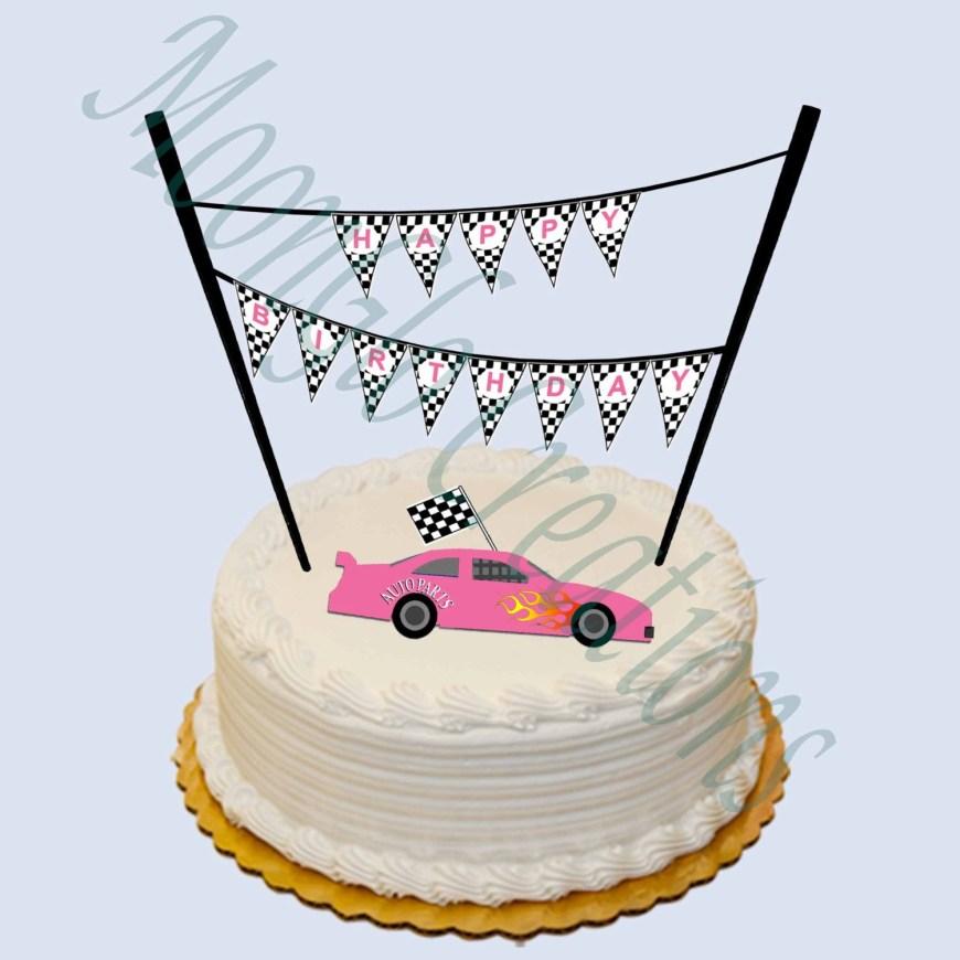 Happy Birthday Cake Banner Race Car Theme Happy Birthday Cake Banner Pink Etsy