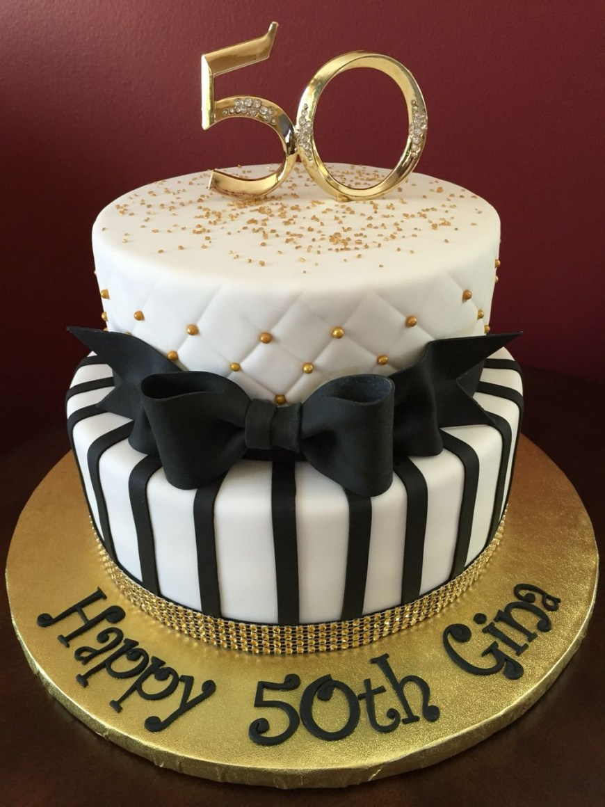 Happy Birthday Cake For Men Black And Gold 50th Birthday Cake Birthday Cakes Pinterest