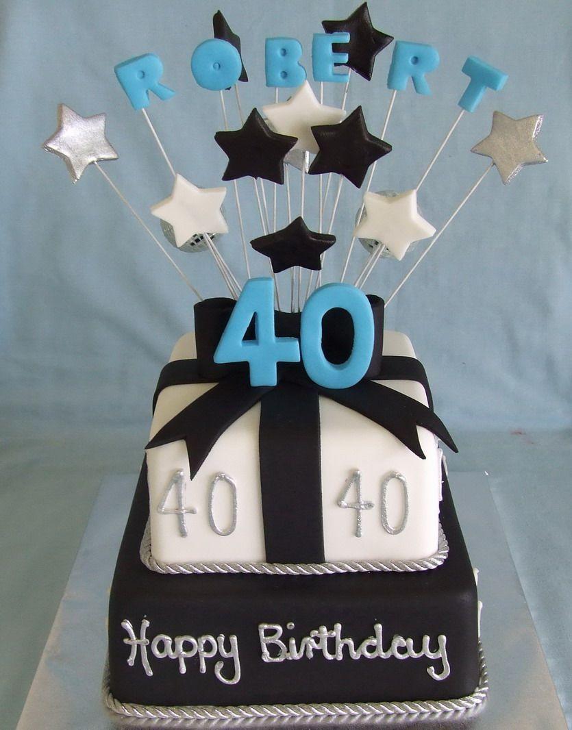 Happy Birthday Cake For Men Male Birthday Cake Black And White Fondant Iced Mudcakes Dads