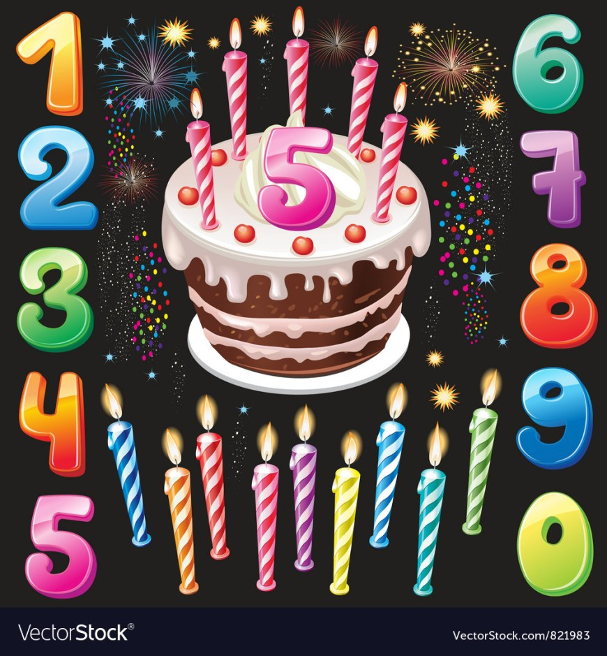 Happy Birthday Cake Images Happy Birthday Cake Numbers And Firework Vector Image