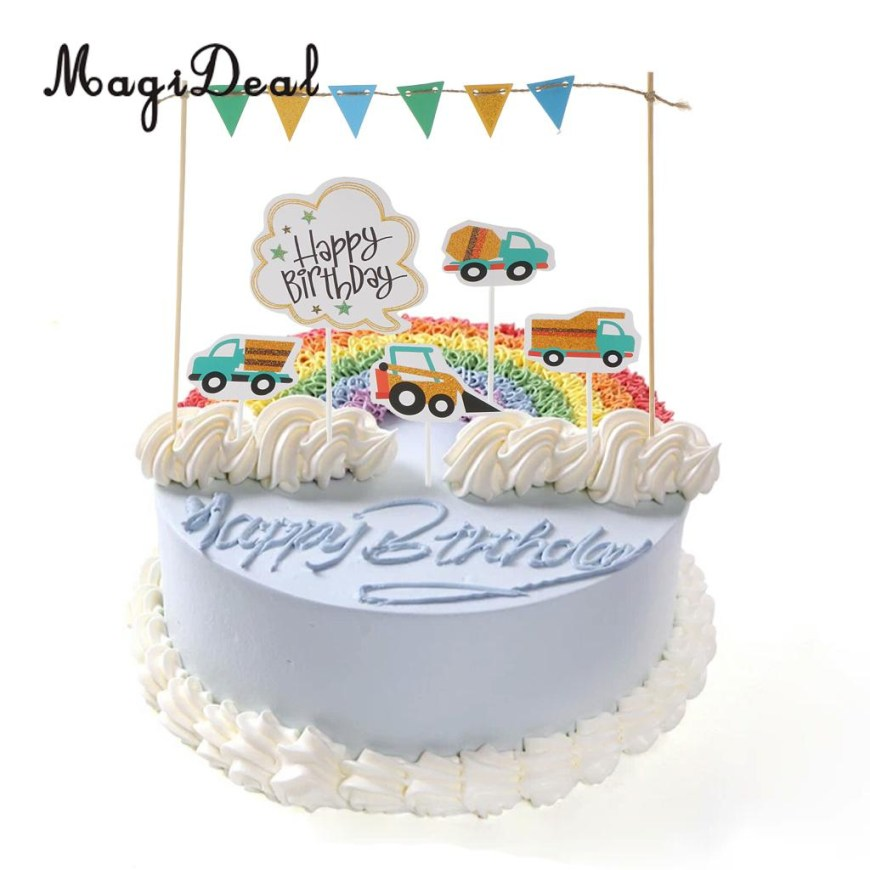 Happy Birthday Cake Topper Happy Birthday Cake Topper Banner Fahrzeuge Lkw Bagger Kuchen Picks