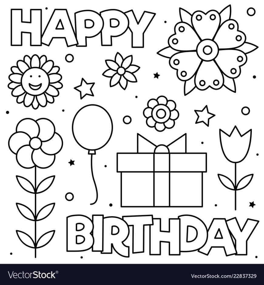 Happy Birthday Coloring Page Happy Birthday Coloring Page Black And White Vector Image