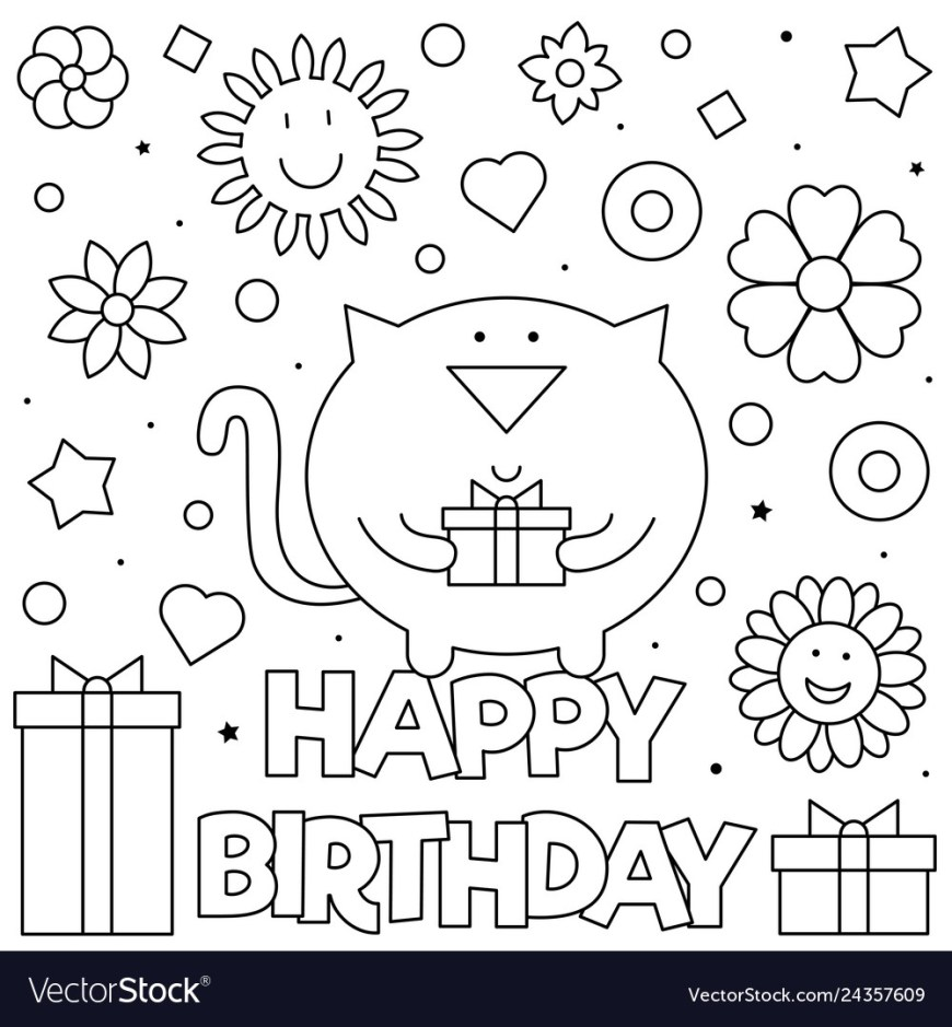 Happy Birthday Coloring Page Happy Birthday Coloring Page Royalty Free Vector Image
