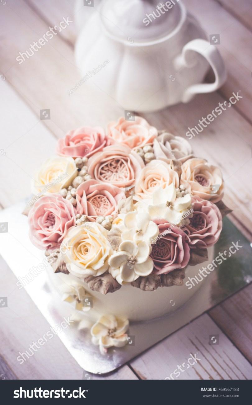 Happy Birthday Flower Cake Buttercream Flower Cake Happy Birthday Cake Stock Photo Edit Now