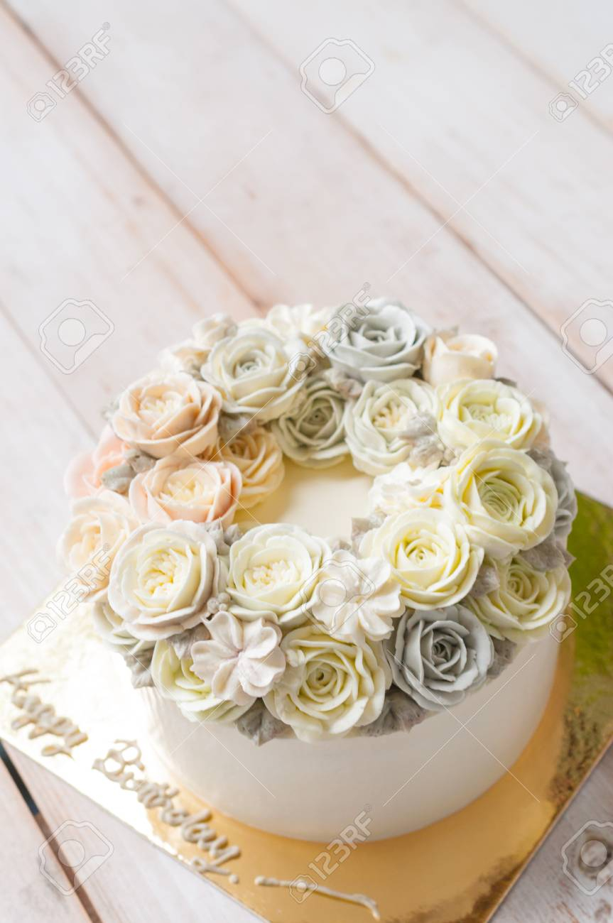 Happy Birthday Flower Cake Happy Birthday Flower Cake Stock Photo Picture And Royalty Free