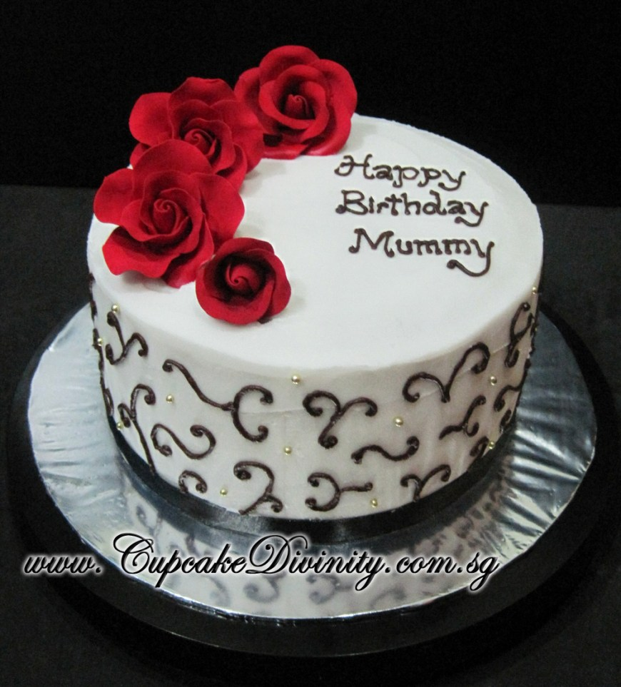 Happy Birthday Mom Cake Cupcake Divinity Customised Happy Birthday Mummy Roses Theme Cake
