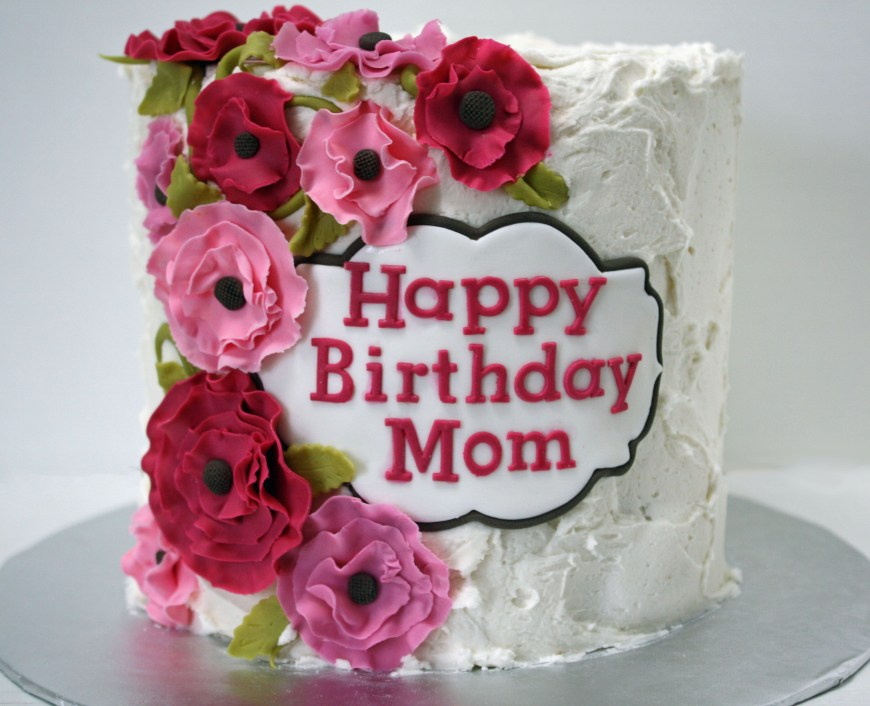 Happy Birthday Mom Cake Happy Birthday Mom Cake With Pink Flowers Frosted Bake Shop