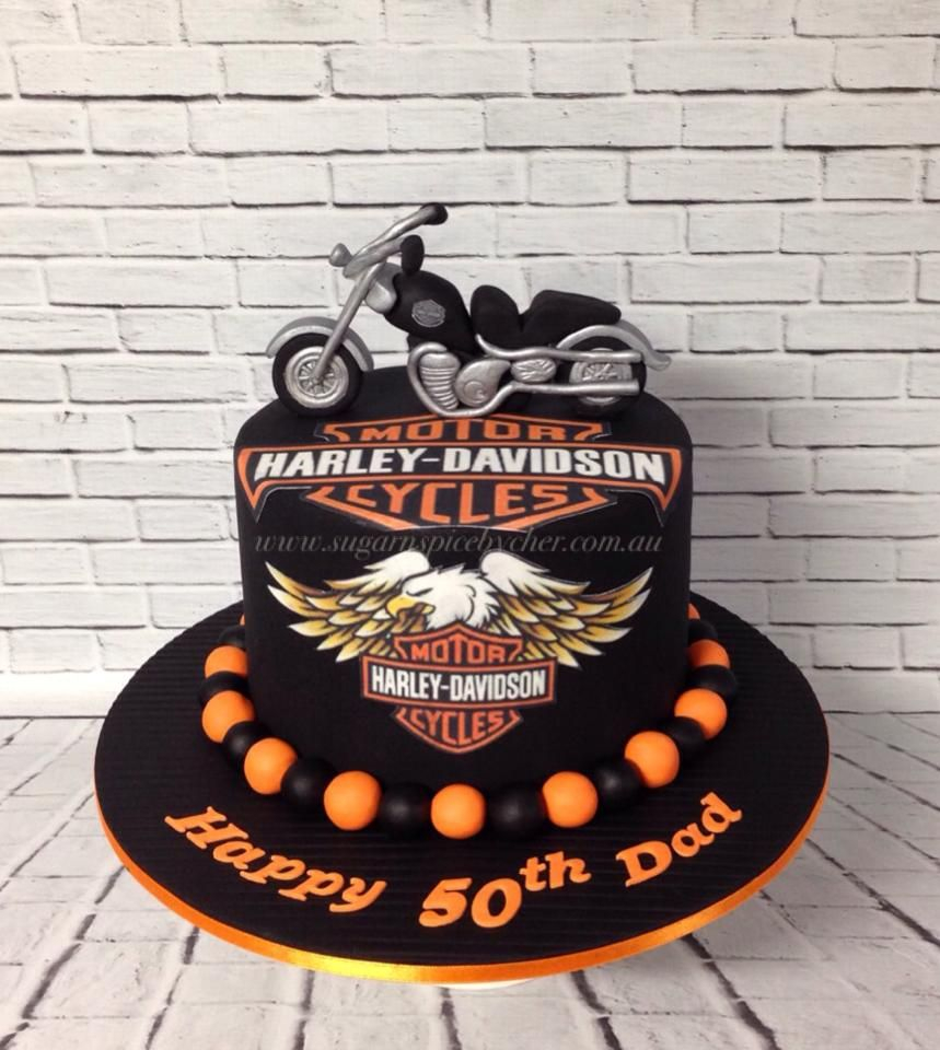 Harley Davidson Birthday Cakes Harley Davidson Bike Cake Harley Davidson Topper 50th Birthday