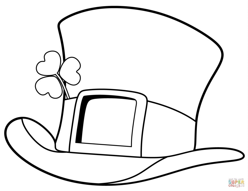 Hat Coloring Page St Patrick Day Top Hat Coloring Page Free Printable Coloring Pages