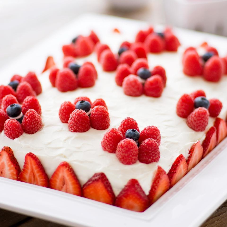 Healthy Birthday Cake Recipes Yellow Sheet With Cream Cheese Frosting Berries Recipe
