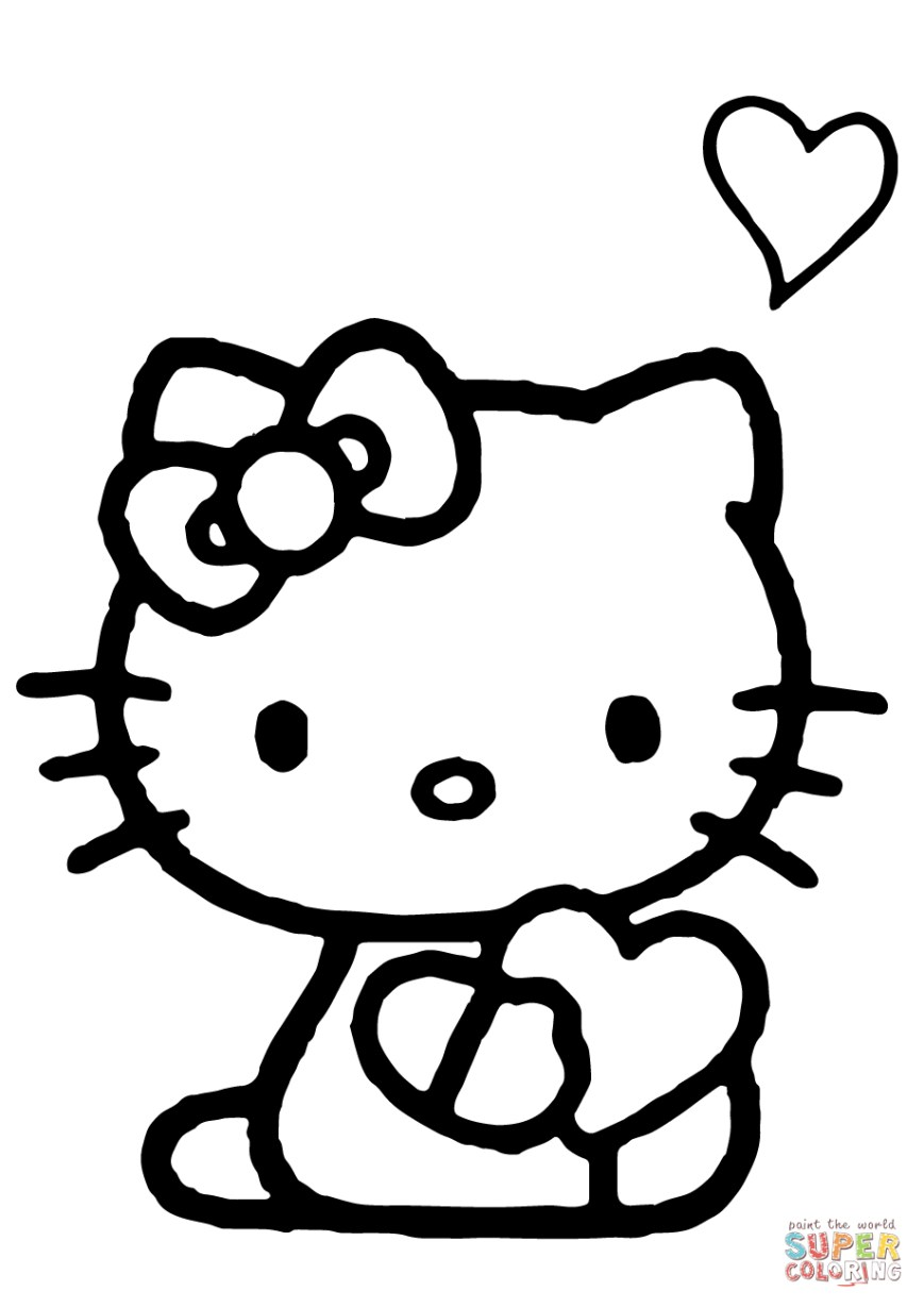 Heart Coloring Page Hello Kitty With A Heart Coloring Page Free Printable Coloring Pages