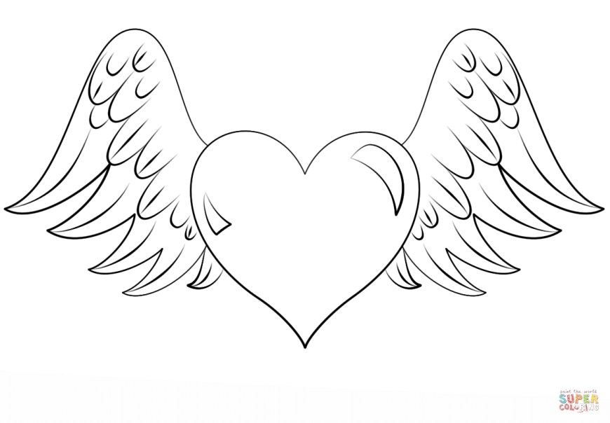 Hearts Coloring Pages Heart With Wings Coloring Page Free Printable Coloring Pages