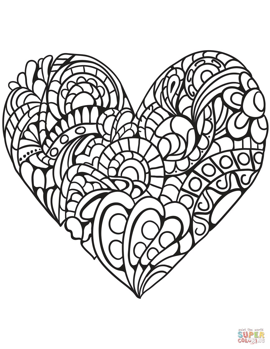 Hearts Coloring Pages Zentangle Heart Coloring Page Free Printable Coloring Pages