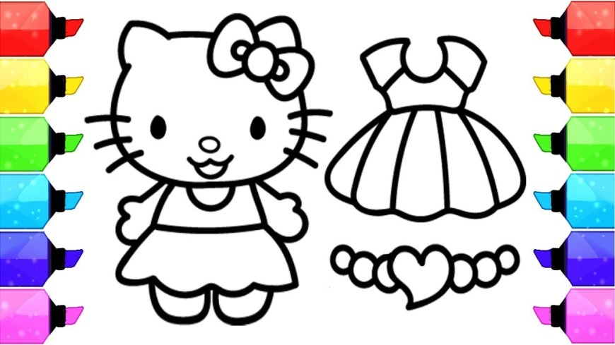 Hello Kitty Color Pages Hello Kitty Coloring Pages How To Draw Hello Kitty Dress Up Game