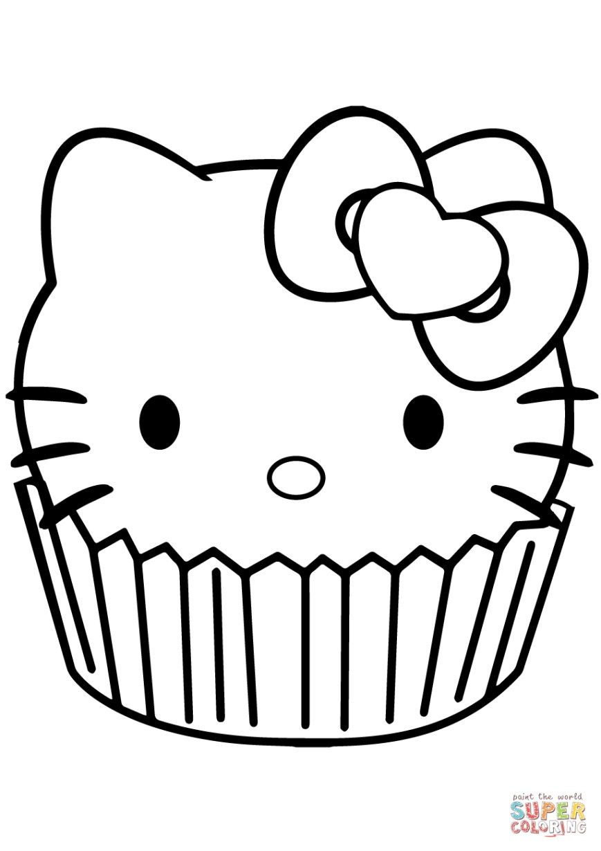 Hello Kitty Color Pages Hello Kitty Cupcake Coloring Page Free Printable Coloring Pages