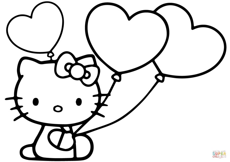Hello Kitty Color Pages Hello Kitty With Heart Balloons Coloring Page Free Printable