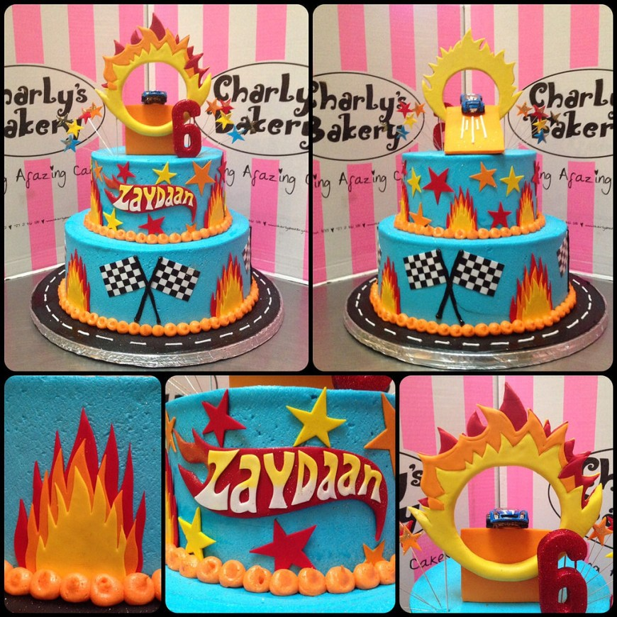 Hot Wheels Birthday Cake 2 Tier Hot Wheels Themed Birthday Cake Iced In Sky Blue Bu Flickr