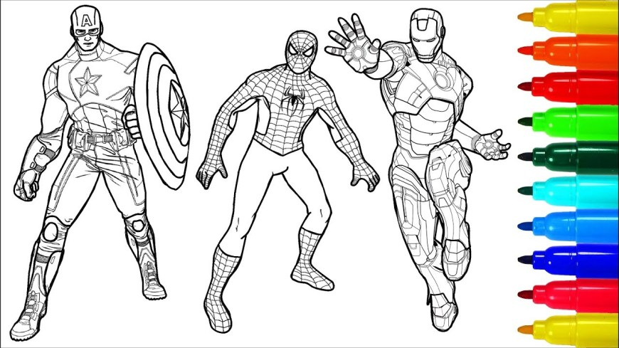 Iron Man Coloring Page Spiderman Captain America Iron Man Coloring Pages Colouring Pages