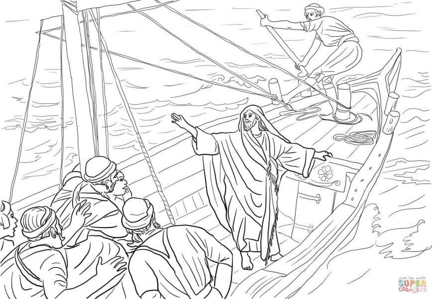 Jesus Calms The Storm Coloring Page 8 Pics Of Jesus Stops The Storm Coloring Page Jesus Calms Storm