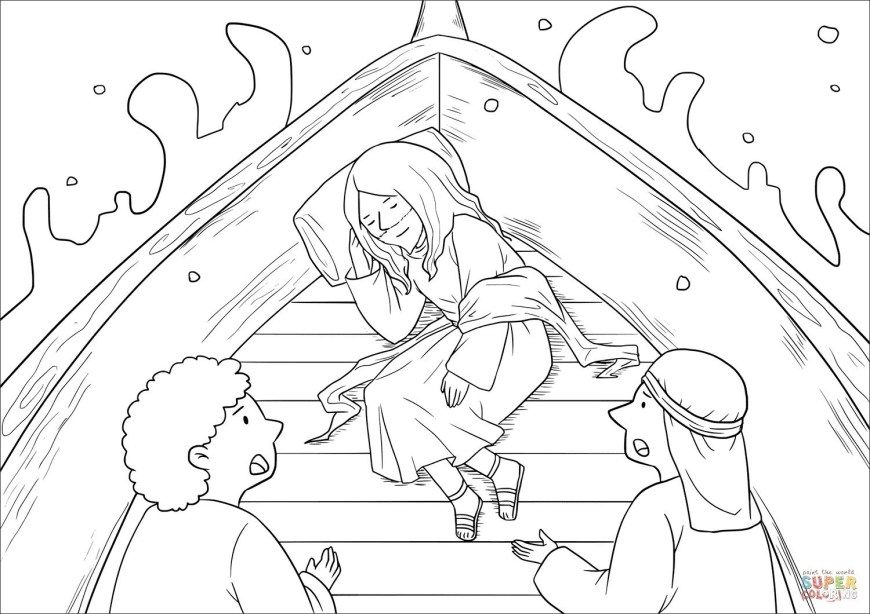 Jesus Calms The Storm Coloring Page Bible Coloring Pages For Kids Awesome Jesus Calms The Storm And Page