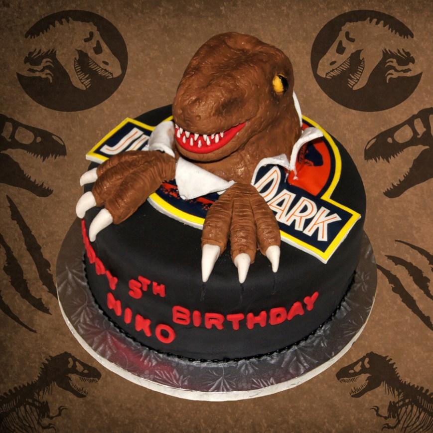 Jurassic Park Birthday Cake 3d Jurassic Park Dinosaur Bursting Out Of Logo Birthday Cake