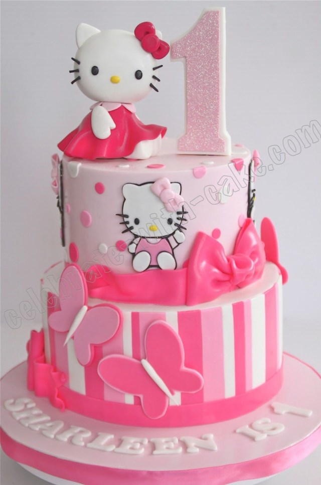 Kitty Birthday Cake Celebrate With Cake 1st Birthday Hello Kitty Tier Cake