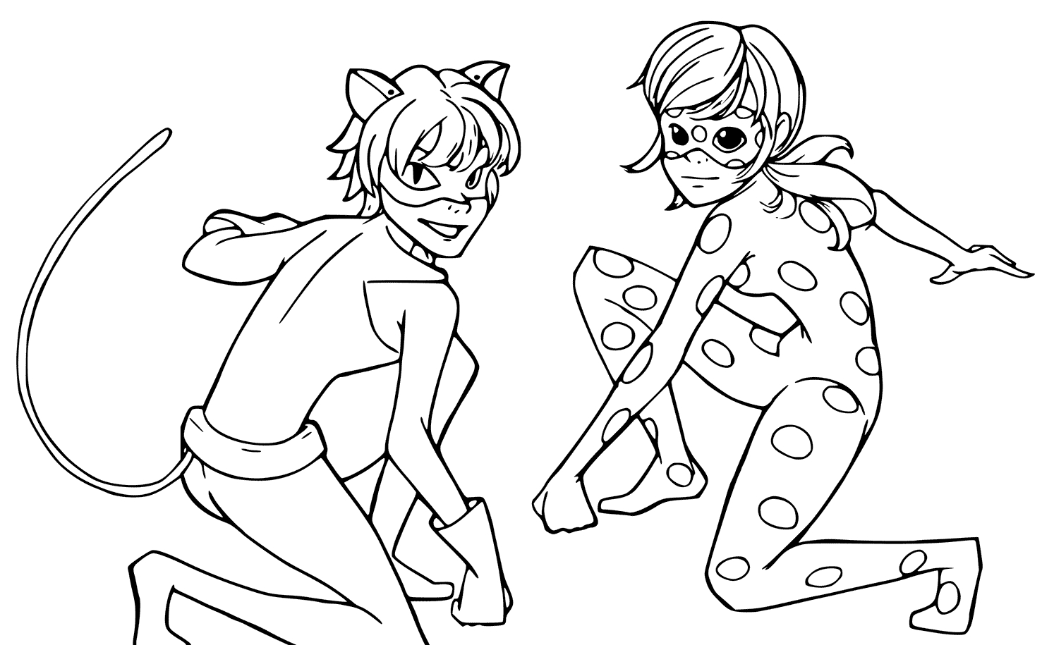 Ladybug And Cat Noir Coloring Pages Ladybug And Cat Noir Coloring