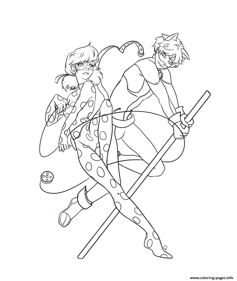 Ladybug And Cat Noir Coloring Pages Miraculous Ladybug And Cat Noir
