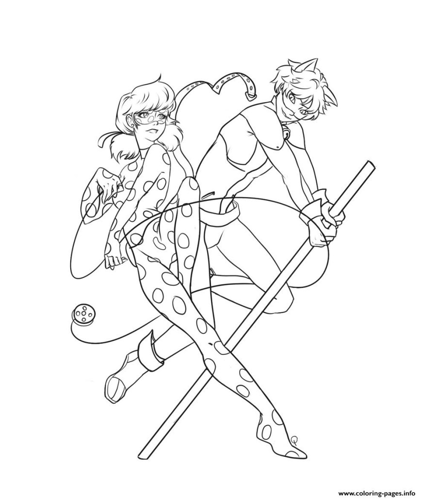 Ladybug And Cat Noir Coloring Pages Miraculous Ladybug And Cat Noir For Kids Cartoon Coloring Pages