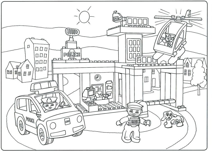 Lego City Coloring Pages Police Lego City Coloring Sheets Train Pages Tesscco