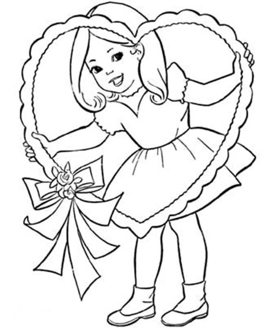 Little Girl Coloring Pages Valentine Little Girl Coloring Pages Beautiful Of Cute Photos