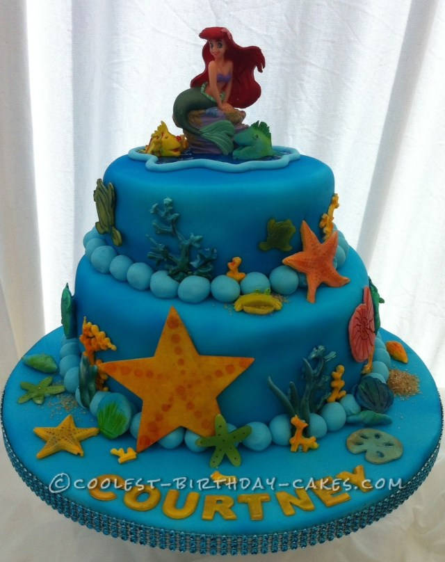 Little Mermaid Birthday Cake Cool Homemade 2 Tier Little Mermaid Cake