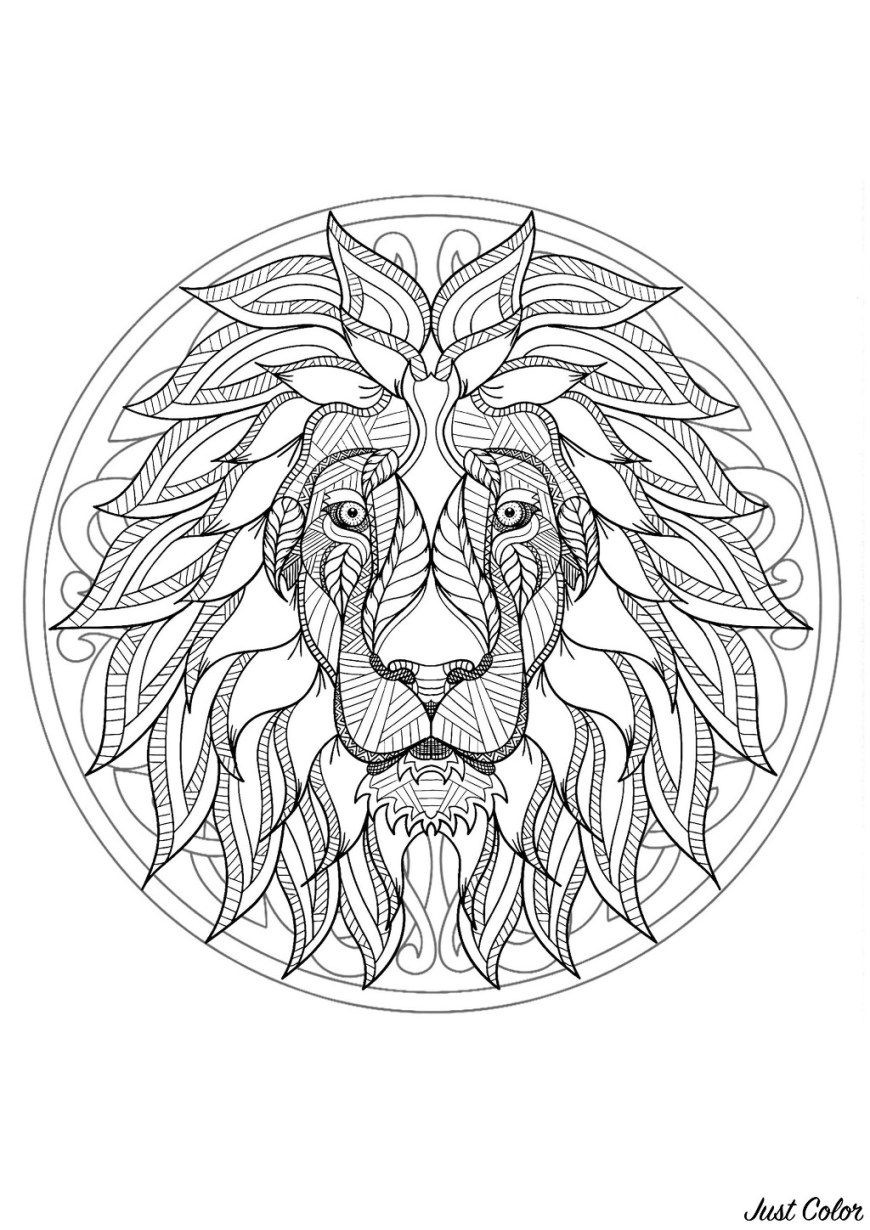 Mandala Coloring Page Complex Mandala Coloring Page With Majestic Lion Head 1 Difficult