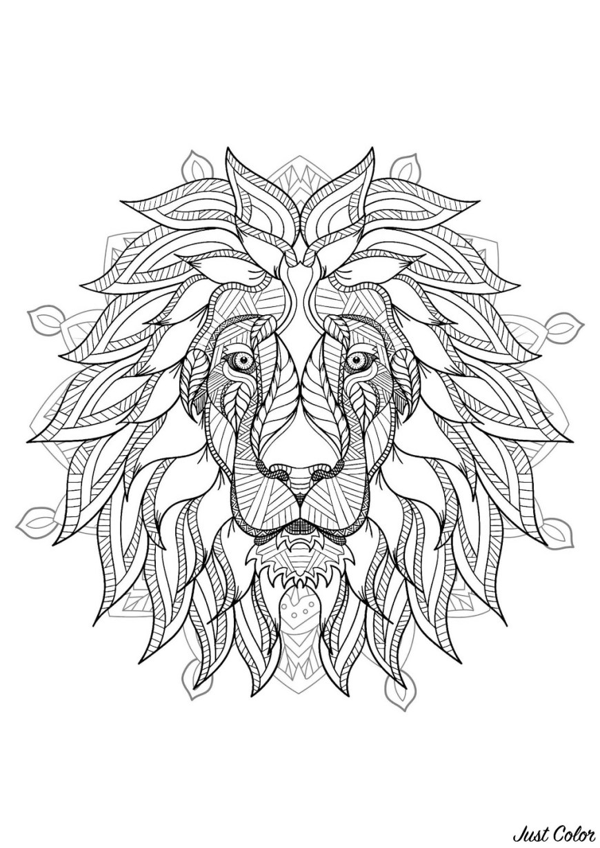 Mandalas Coloring Pages Complex Mandala Coloring Page With Majestic Lion Head 2 Difficult