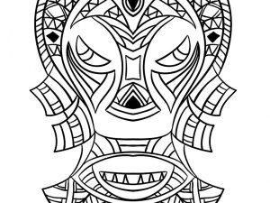 Mask Coloring Pages African Mask Coloring Page Indian Aztec Mexican Historic Tribal