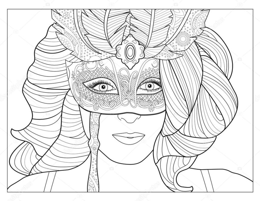 Mask Coloring Pages Masquerade Mask Coloring Page Stock Photo Smk0473 128345186