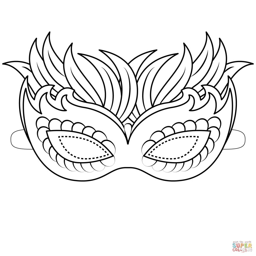 Mask Coloring Pages Venetian Mask Coloring Page Free Printable Coloring Pages