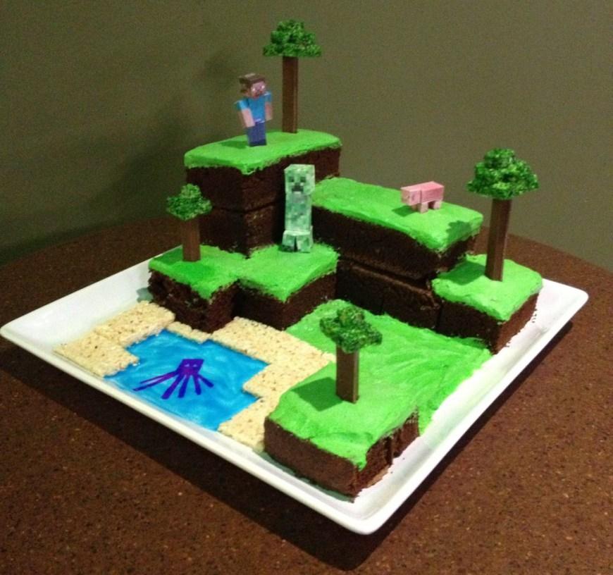 Minecraft Birthday Cake Ideas Minecraft World Cake With Pictures